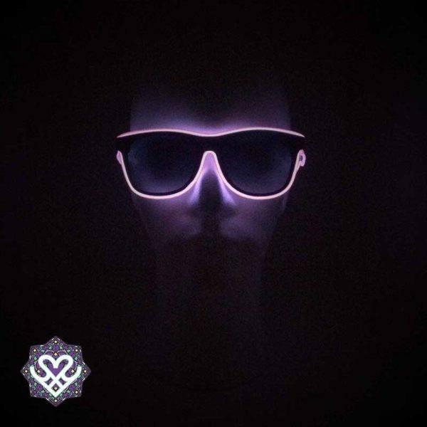 paarse lichtgevende bril