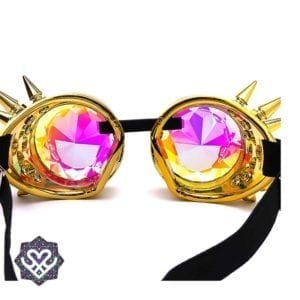 gouden kaleidoscoop goggle bril