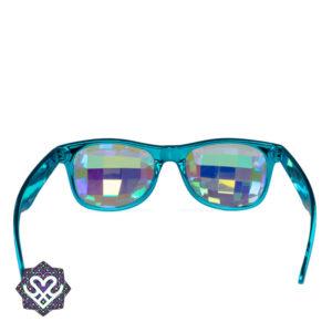 blauwe wayfarer caleidoscoop bril