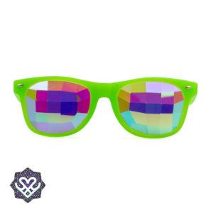 neon groen caleidoscoop partybril