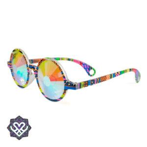 ronde kaleidoscoop bril gekleurd montuur