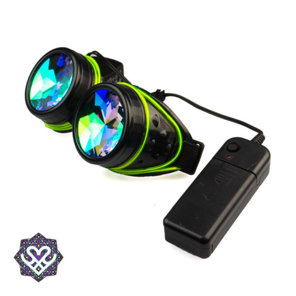 LED el wire goggle caleidoscoop bril - Big diamond (zwart)