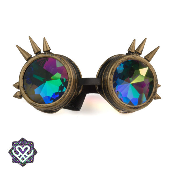 Spikes goggle caleidoscoop bril - Big diamond (bronze)
