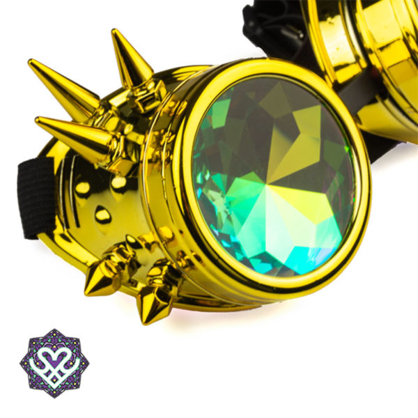 Spikes goggle caleidoscoop bril - Big diamond (gold)