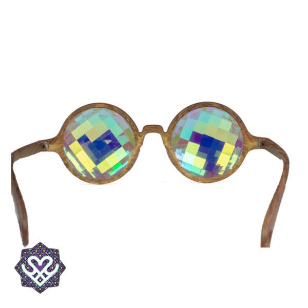 Round caleidoscoop bril - Squares (houtlook)