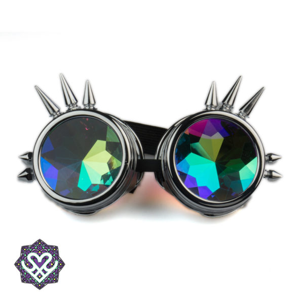 Spikes goggle caleidoscoop bril - Big diamond (silver)