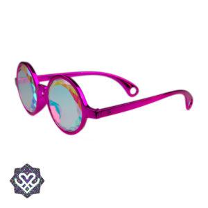 zijkant roze caleidoscoop bril
