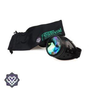zwarte caleidoscoop bril met hoesje