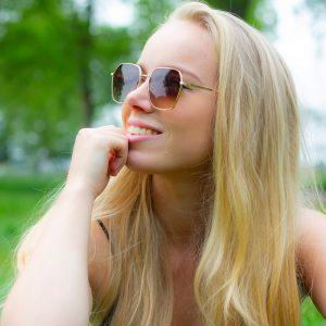 Bruin glazen zonnebril